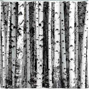 Kikkerland Birch Shower Curtain